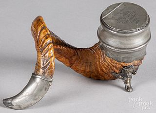 Pewter mounted ram's horn snuff box
