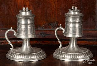 Pair of pewter whale oil lamps, 19th c.