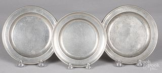 Three small pewter plates