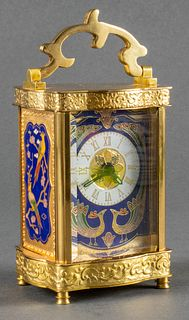 Small Cloisonne Enamel & Brass Carriage Clock