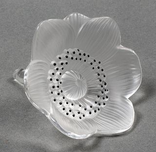 "Lalique ""Anemone"" Frosted Art Glass Paperweight"