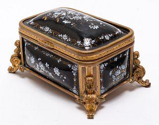 Continental Enamel & Brass Dresser Box