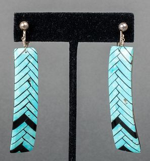 Native American Silver, Turquoise & MOP Earrings