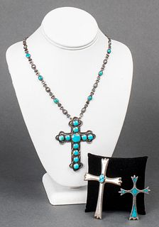 Native American Silver & Turquoise Crosses, 3