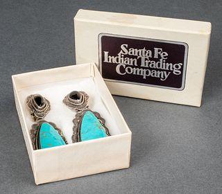 Aaron Toadlena Navajo Silver & Hardstone Earrings