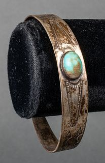 Native American Silver & Turquoise Bangle Bracelet