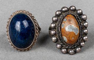 Native American Silver Lapis & Jasper Rings, 2