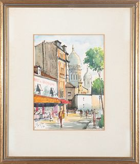 "La Foglia Signed ""Paris Montmartre"" Watercolor"