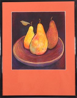 "Modern ""Still Life with Pears"" Pastel Drawing"