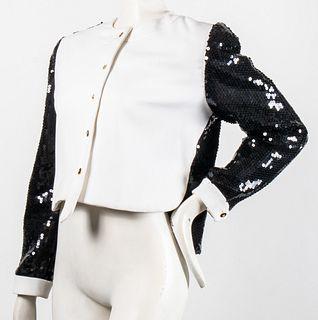 Bill Blass Black & White Jacket W Sequins