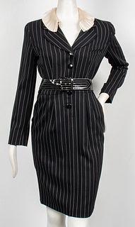 Schon Designer Pinstripe Blazer Dress