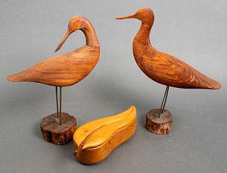 Carved Wood Bird Sculptures & Leaf Form Box, 3