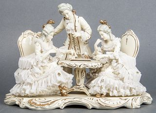 """""""The Chess Match"""" Dresden Porcelain Figural Group"""