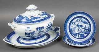 Mottahedeh Blue Canton Tureen & Plates, 4 Pcs