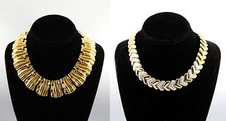 Vintage Mid-Century Modern Gold-Tone Necklaces, 2