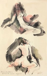 Title: Susan England Nude abstract Watercolor Painting