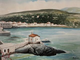 Artist Signed Greek Island Avdpos Watercolor Painting