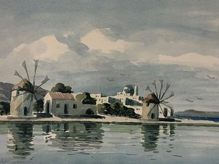 Artist Signed Greek Island NAPOE Watercolor Painting