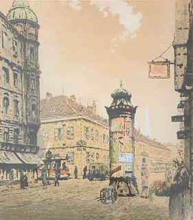 Signed Fgo Thomas?  Etching German Market Square