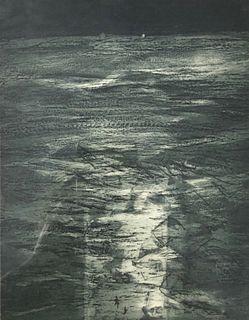 Original etching Francis kourbnetch /Window to the sea
