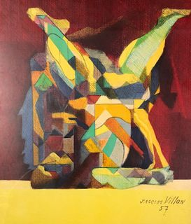 POSTER Lithograph Abstract signed JACQUES VILLON 57