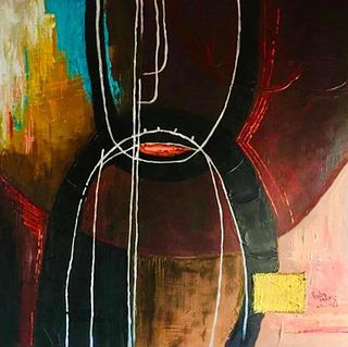 Signed Abstract oil Painting On Canvas