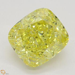 2.10 ct, Intense Yellow/IF, Cushion cut Diamond