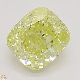 1.50 ct, Intense Yellow/VS2, Cushion cut Diamond