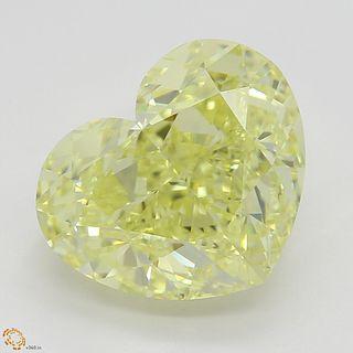 3.86 ct, Intense Yellow/VVS1, Heart cut Diamond