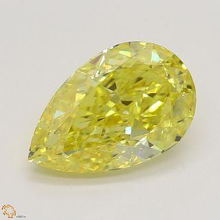 1.51 ct, Vivid Yellow/VS2, Pear cut Diamond