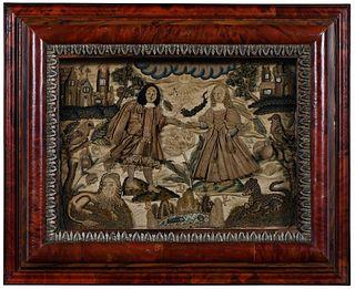 Charles II Silk Raised Needlework
