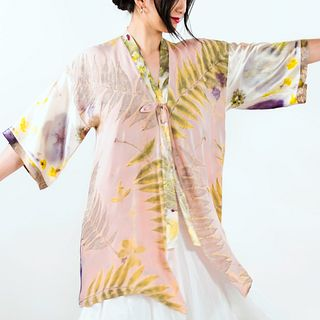 Pink, green, yellow kimono: Hand dyed, color block