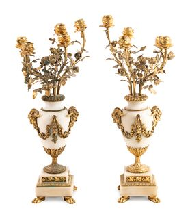 A Pair of Louis XV Style Gilt Bronze Mounted White Marble Five-Light Candelabra