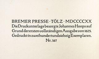 Bacon, Francis. Essays. Tölz: Bremer Presse, 1920 / London: Arthur L. Humphreys, 1900. Piezas: 2.