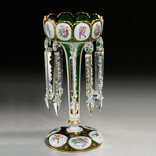 Nice Bohemian cased and enameled glass luster