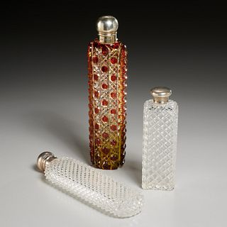 (3) English sterling and cut glass scent bottles