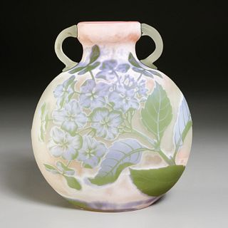 """Emile Galle, """"Hortensias"""" frosted cameo glass vase"""