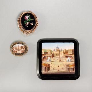 Antique Italian micro-mosaic brooches & plaque