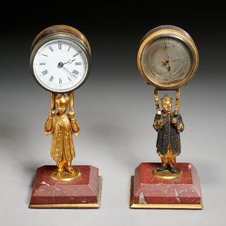 Victorian gilt bronze figural clock and barometer