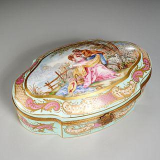 Large Sevres style enameled porcelain box