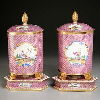 Pair large Sevres style jars, ex Duke of Newcastle