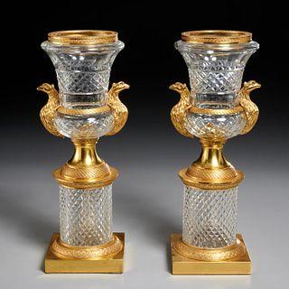 Pair Louis XVI style dore bronze, cut glass urns
