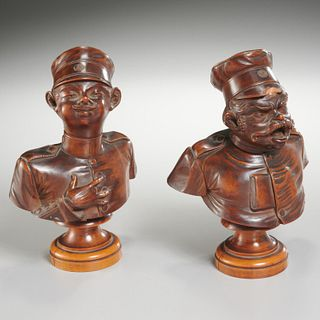 Pair Continental carved wood caricature busts