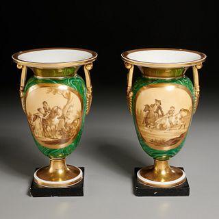 Pair Old Paris faux malachite urn vases