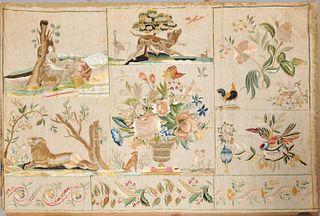 Fine antique English silk stumpwork sampler