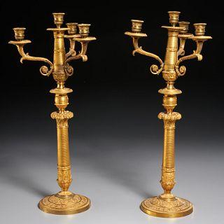 Pair French Restauration gilt bronze candelabra
