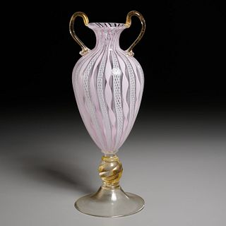 Murano latticino glass pedestal urn