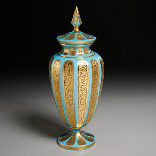 Fine Continental gilt cased glass jar and cover