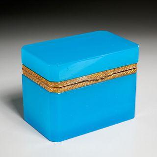Antique blue opaline glass dresser box