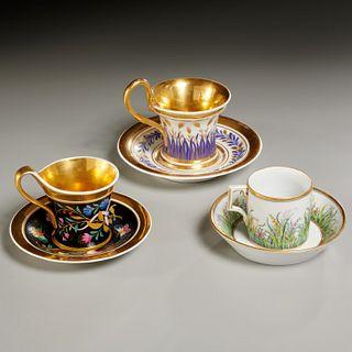 (3) fine KPM gilt porcelain cups and saucers
